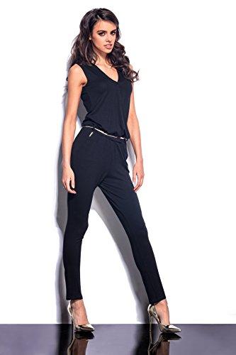 Lemoniade eleganter Jumpsuit ohne Ärmel mit verführerischem V-Ausschnitt in Wickeloptik, schwarz - 5
