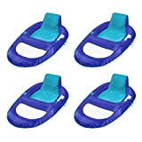 SwimWays Spring Float Recliner XL Floating Swimming Pool Lounger Chair for Adults, Blue (4 Pack)