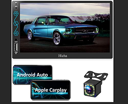Double Din Car Stereo Compatible with Apple CarPlay & Android Auto, 7'' HD Touch Screen Car Radio with Bluetooth, AM/FM Audio Receiver, Backup Camera, Mirror Link, USB/AUX Input