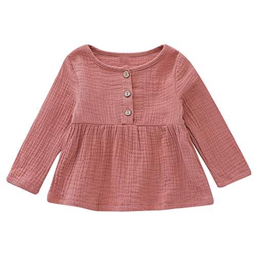 SANFASHION Babykleidung Baby Mädchen Neugeborenes Kleidung Sets Langarm Button Princess Kleid Sommerkleider Kleidung Outfits