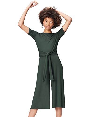 Amazon-Marke: find. Damen Jumpsuit Rib Cropped Jumpsuit_18AMA040, Grün (Green), 38, Label: M