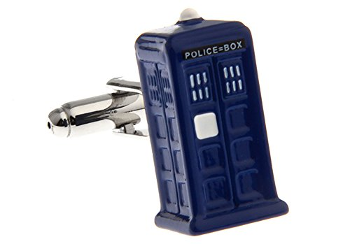 Police Box Cufflinks Doctor Who Cuff-links with Velvet Gift Box