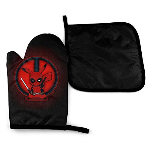 Deadpool Pikachu Pot Holders and Oven Mitts 2 Piece Heat Resistant Kitchen Bake Gloves Cooking Mitten