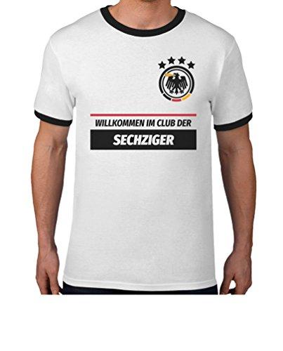 60 Geburtstag Geschenk - Willkommen im Club der 60er Deutschland Trikot T-Shirt XL Weiß/Schwarz