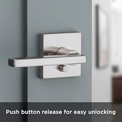 Kwikset 91550-001 Halifax Door Handle Lever with Modern Contemporary Slim Square Design for Home Bedroom or Bathroom Privacy in Satin Nickel