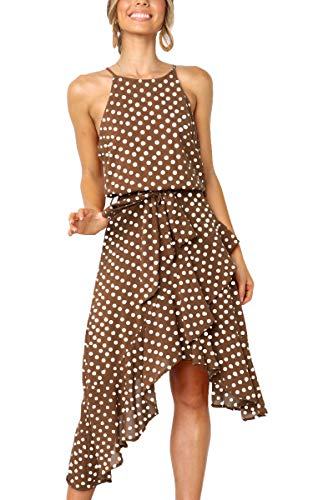 ECOWISH Womens Polka-dot Laced Irregular Cocktail Dress Sleeveless Neckholder Sexy Sundress Coffee S