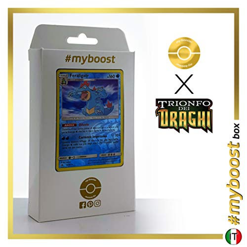 Feraligatr 24/70 Holo Reverse - #myboost X Sole E Luna 7.5 Trionfo dei Draghi - Box di 10 Carte Pokémon Italiane