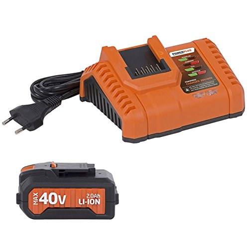 Powerplus 40V Dual Power 2.0Ah Lithium-Ion Battery & Charger with LED Charge Indicators