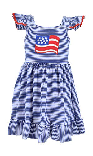 Unique Baby Girls 4th of July American Flag Dress (2t/XS) Blue