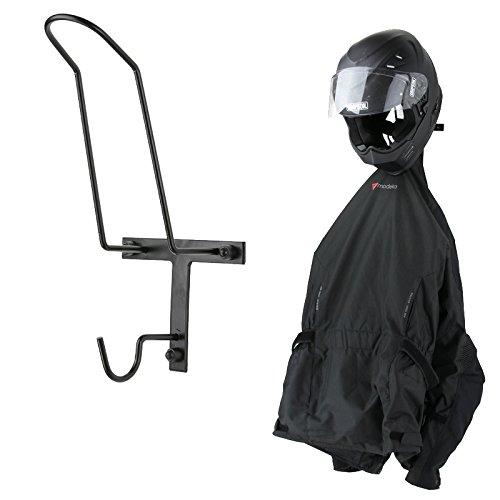 Wand Motorradjackenhalter Jackenhalter Wandhalter Helmablage schwarz Helmhalter Fahrradhelm Motorradhelm Helm Reithelm Reitjacke Halter Bügel Kleiderbügel Jacke