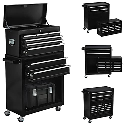 8-Drawer Tool Chest Rolling Tool Box with Wheels, Large Detachable Tool Box with Drawers and Lock, Metal Tool Cart Storage Cabinet for Garage and Warehouse (Black)