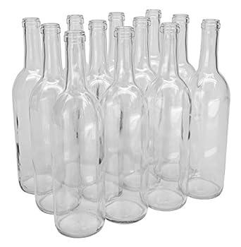 North Mountain Supply - NMS W5 Flint 750ml Glass Bordeaux Wine Bottle Flat-Bottomed Cork Finish - Case of 12 - Clear/Flint