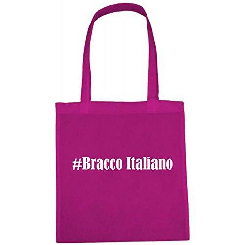 Tasche #Bracco Italiano Größe 38x42 Farbe Pink Druck Weiss