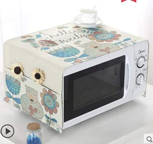 Gouen Housse de Protection pour Micro-Ondes en Coton et Lin avec Pochette Cuisine Poussière d'huile Étanche Double Poches Accessoires de Cuisine, I, 100CM X 35CM