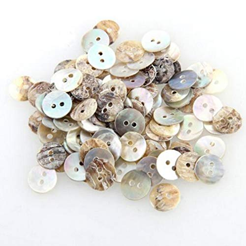 Welecom 1000 Pcs Natural Shell Buttons 10mm 2 Hole Mother of Pearl Round Shell Buttons for Cloth Sewing Craft Buttons
