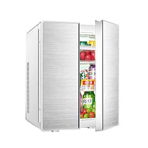 MQJ 25L Refrigeración de Doble Núcleo Mini Coche Refrigerador Double Door Design Home Dormitory Cooler And Warmer Car Dual Uso Mini Nevera,Plata