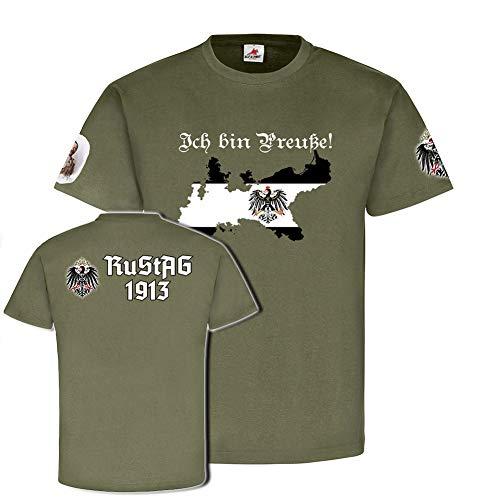 Ich Bin Preuße nach RuStAg1913 Preußen Adler Wappen Heimat - T Shirt #18660, Farbe:Oliv, Größe:Herren L