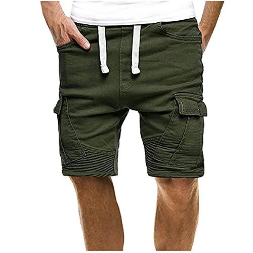Pantaloncini da Uomo con Polsini Plissettati Pantaloncini Cargo Multi Tasche Moda Shorts...