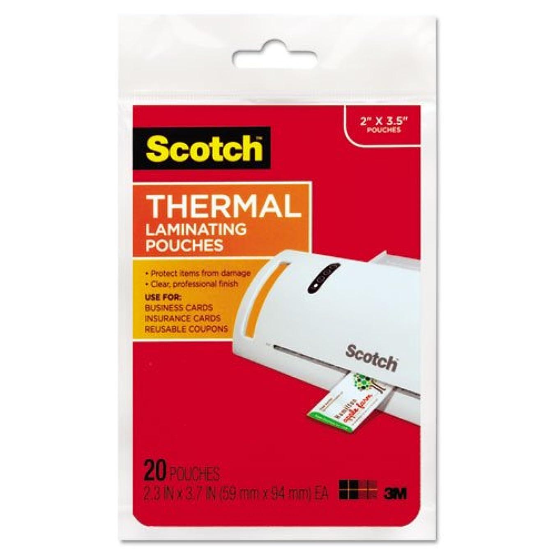 太字ジムお肉Scotch Business Card Size Thermal Laminating Pouches, 5 mil, 3 3/4 x 2 3/8, 20/Pack