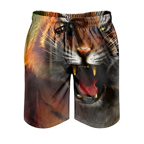 kikomia Bañador para hombre, diseño de fantasía, jungla, tigre, impresión artística, ajustado, con bolsillos, Hombre, Blanco, 5XL