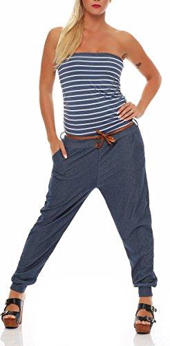 Malito Damen Einteiler im Marine Design | Overall mit Gürtel | Jumpsuit im Jeans Look | Romper - Playsuit - Bandeau 9650 (Jeansblau)