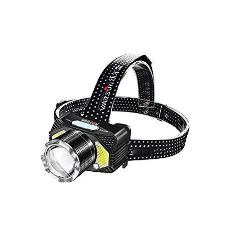 JIAXU Linterna frontal USB recargable LED cabeza lámpara IPX4 impermeable con 4 modos y diadema ajustable