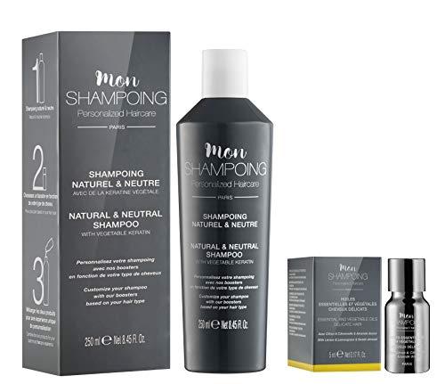 Mon Shampoing - Duo Shampoing Naturel - Cheveux Délicats - Sans SLS/Sans Paraben/Sans Silicone - Huiles Essentielles & Vég. Citron, Citronnelle, Amande - Convient pour Lissage/Extension. 250ml + 5ml