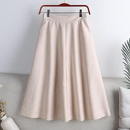 WQZYY&ASDCD Falda De Tubo Mujer Falda Midi Cintura Alta Casual Slido Una Lnea Moda Oficina Seora Ropa Talla nica Albaricoque