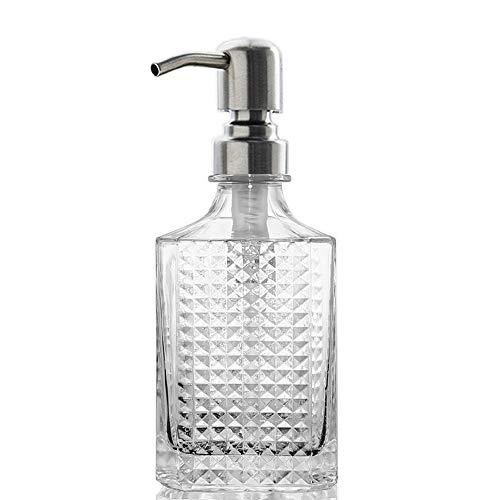 Dispensador de jabón de mano con diseño de diamante de vidrio transparente con bomba de jabón de acero inoxidable a prueba de óxido, dispensador de jabón de mano para baño y cocina, 12 onzas