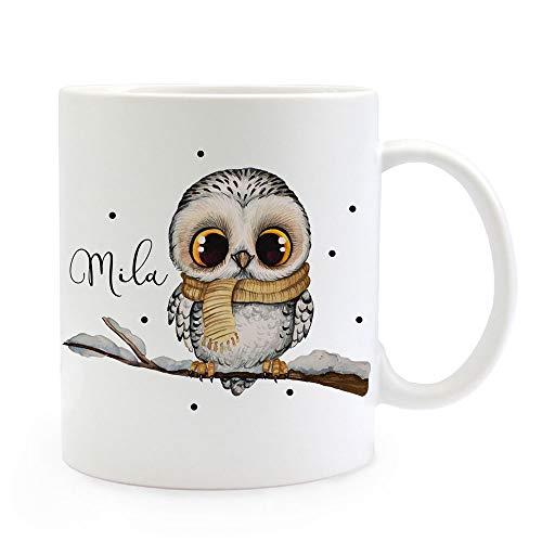 ilka parey wandtattoo-welt Tasse Becher Eule Eulchen auf AST Zweig Motiv mit Wunschname Name individuell Kaffeebecher Kaffeetasse Geschenk ts1082 - ausgewählte Farbe: *weiß*