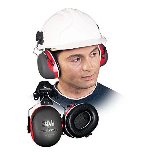 3M PELTOR X3P3 Orejeras para casco con anclaje P3E 32db (1 orejera/caja), rojo ⭐