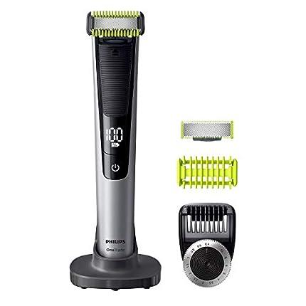 Philips OneBlade Pro Cara y Cuerpo QP6620/30 - Recortador de Barba Recargable con Peine-Guía para el Cuerpo, Peine de Precisión de 14 Longitudes, Base de Carga y Funda de Viaje