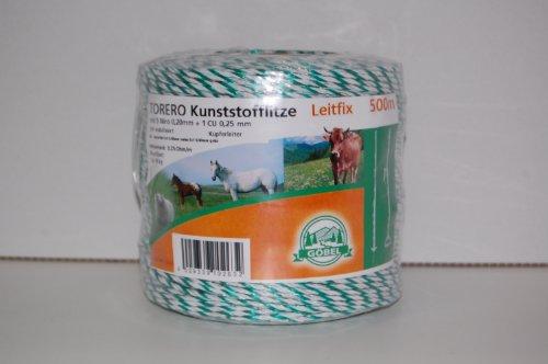 Göbel Weidezaun Litze Torero Leitfix 200m 5 Niroleiter 1 Kupferleiter 0,25 Ohm/m weiß grün