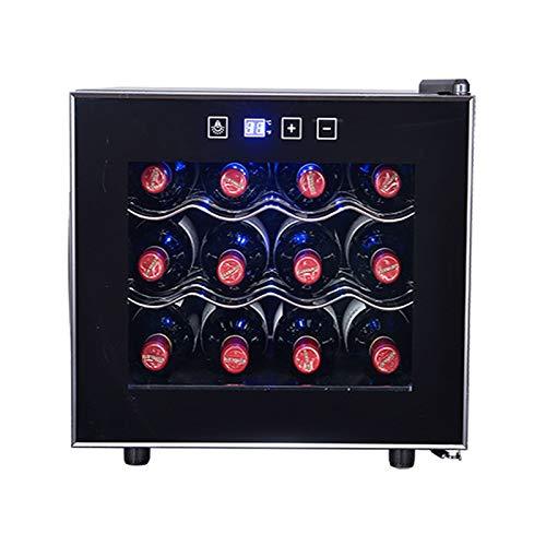 MINGDIAN Refrigerador del refrigerador de Vino del compresor 12 Botellas | Gran Bodega Independiente | Refrigerador de Vino con Control de Temperatura Digital 41f-64f - Negro