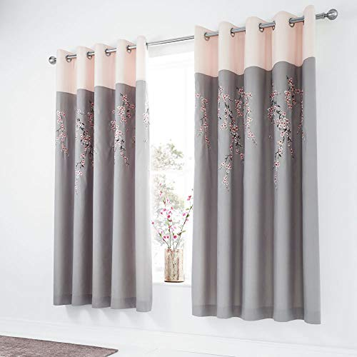 Catherine Lansfield Embroidered Blossom Ösenvorhang, Polyester, grau, 66x72 Inch