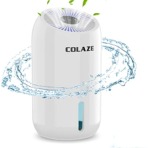 COLAZE Small Dehumidifier 480 Sq.ft Portable Mini Dehumidifiers for Home Compact and Quiet for Basements, Bedroom, RV, Bathroom, Garage, Closet, Kitchen with 7 Color LED Light, 60.8oz Water Tank