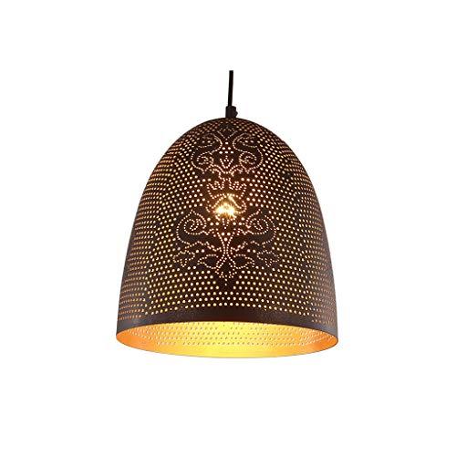 JJH Luz Colgante de Estilo árabe, pámpara de Metal Tallada Hueca, lámpara Colgante Chandelier E27 Bulbo, 25 x 25 cm (3 Colores) (Color : Black)