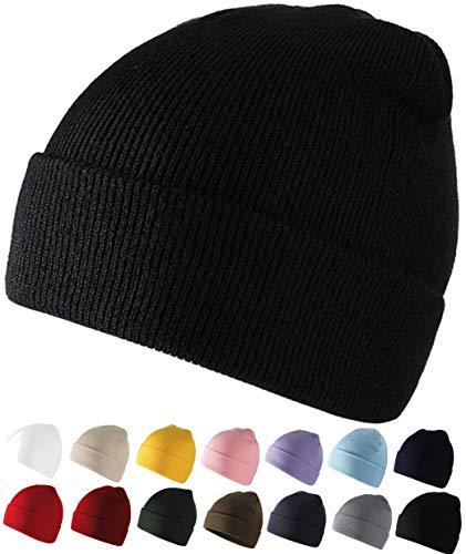 SQUATCH® | Bonnet Ultra Doux et Confortable | Maille Jersey 100% Laine Acrylique | Taille Unique Homme Femme Enfant | 14 Couleurs (Noir)