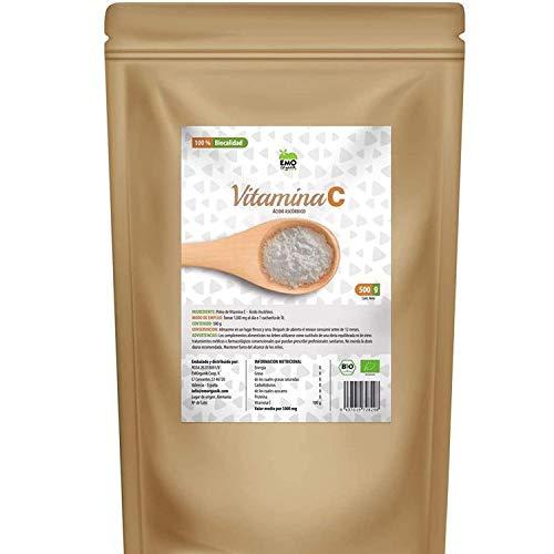 EMO Bio - Vitamina C - Polvo de Vitamina C Ecológica - 500 gramos - Vitamina C Pura - Vitamina C en Polvo de Gran Calidad - Ideal como Antioxidante - Protege el Sistema Inmune