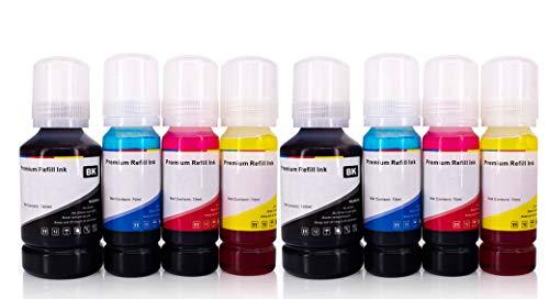 YOUTOP - 8 botellas de tinta compatibles para Epson T664 compatible con Epson EcoTank ET-2600 ET-2650 ET-2500 ET-2550 ET-4500 ET-14000 T6641 T6642 T6643 T6644 70 ml cuatro colores de alta calidad
