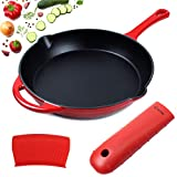 10' Enameled Cast Iron Skillet Frying Pan, 1 Extra Thick Silicone Hot Handle Holder and 1 Silicone...