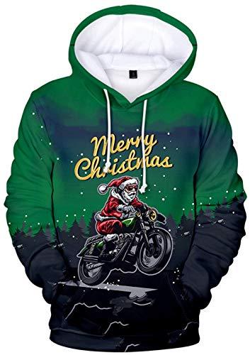 YIMIAO Christmas Unisex Sudadera con Capucha 3D Printed Navidad Sweatshirt para niños niñas Bolsillo Canguro...