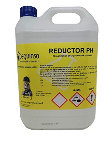PEQUINSA Reductor de pH liquido para Piscinas. Envase 5 litros.