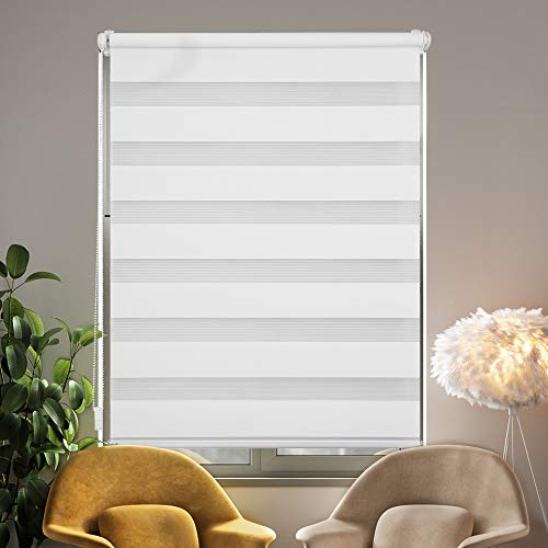 i@HOME Doppelrollo ohne Bohren (90 x 150 cm), Rollos für Fenster & Türen ohne Bohren Thermorollo Fensterrollo Seitenzugrollo für Sichtschutz & Sonnenschutz (Weiß, 90 x 150 cm)