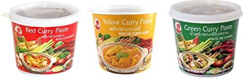 COCK BRAND Lot Mix 3 x 400g Pâte De Curry Jaune Vert et Rouge (Import Thailande)