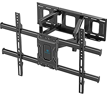 PERLESMITH TV Wall Mount Full Motion Bracket for Most 37-75 inch LED LCD OLED 4K Flat Curved TV Swivel Dual Articulating Arms Extension Rotation Tilt Max VESA 600x400 Supports TVs up to 132lbs PSLF7