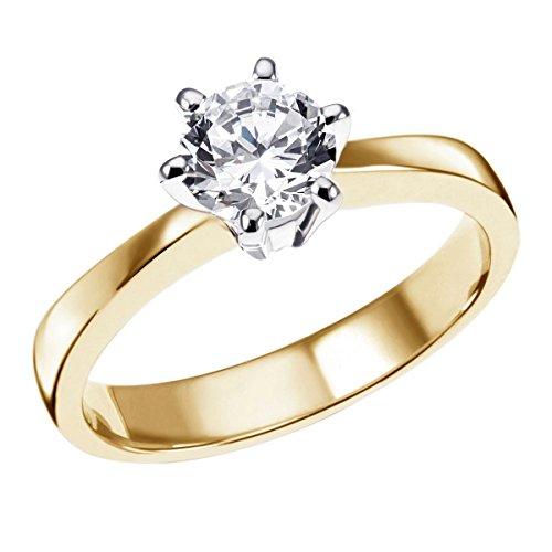 Goldmaid Damen-Ring 6 Stotzen Solitär Bicolor inkl. externer Expertise 14 Karat 585 Gold 1 Brillant Lupenrein weiß 1,00 ct. Gr. 56 So R3992GWL56 Schmuck
