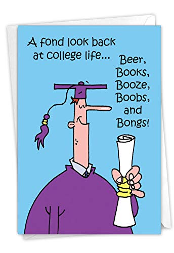 Fond Look Back - Funny Graduation Day Greeting Card For College Students (4.63 x 6.75) - Cartoon Grad Note Card with Envelope - Hilarious Congrats Notecard for University Grads C3556GDG