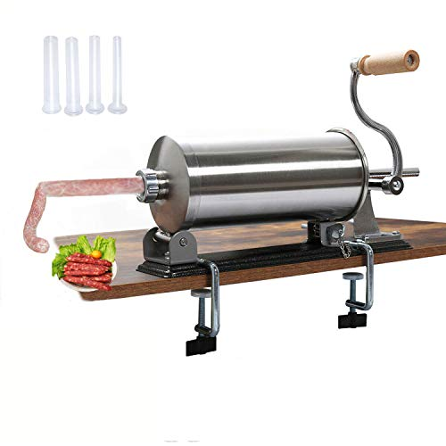 uyoyous 6LBS/3L Sausage Stuffer Horizontal Kitchen Sausage Machine Stainless Steel Homemade Manual Meat Filler Kit With 4 Size Tubes for 2-inch Table