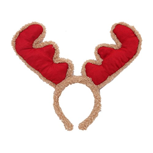 Sweet Home Bandeau en peluche pour adultes et enfants Motif renne Rouge